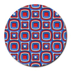 3d squares Round Mousepad by LalyLauraFLM
