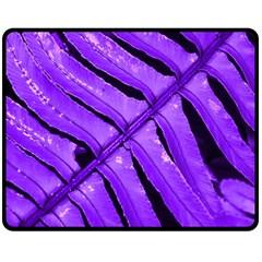 Purple Fern Double Sided Fleece Blanket (medium)  by timelessartoncanvas