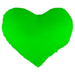Cool Green Large 19  Premium Flano Heart Shape Cushions by Costasonlineshop