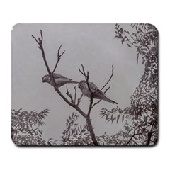 Couple Of Parrots In The Top Of A Tree Large Mousepads by dflcprints