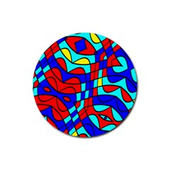 Colorful Bent Shapes rubber Round Coaster (4 Pack) by LalyLauraFLM