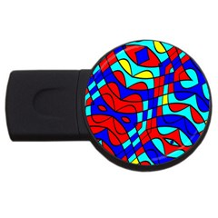 Colorful Bent Shapes usb Flash Drive Round (2 Gb) by LalyLauraFLM