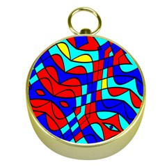 Colorful Bent Shapes gold Compass by LalyLauraFLM