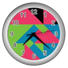 Angles wall Clock (silver) by LalyLauraFLM