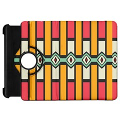 Rhombus And Stripes Pattern			kindle Fire Hd Flip 360 Case by LalyLauraFLM