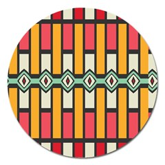 Rhombus And Stripes Pattern 			magnet 5  (round) by LalyLauraFLM