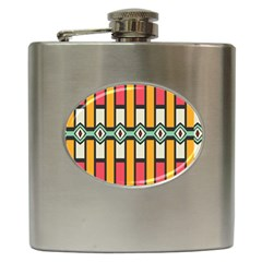 Rhombus And Stripes Pattern 			hip Flask (6 Oz) by LalyLauraFLM