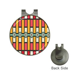 Rhombus And Stripes Pattern golf Ball Marker Hat Clip by LalyLauraFLM