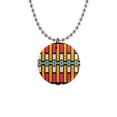 Rhombus And Stripes Pattern 			1  Button Necklace by LalyLauraFLM