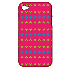 Hearts And Rhombus Patternapple Iphone 4/4s Hardshell Case (pc+silicone) by LalyLauraFLM