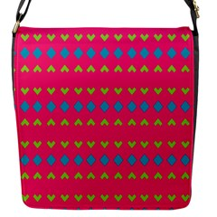 Hearts And Rhombus Pattern 			flap Closure Messenger Bag (s) by LalyLauraFLM