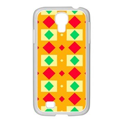 Green Red Yellow Rhombus Patternsamsung Galaxy S4 I9500/ I9505 Case (white) by LalyLauraFLM