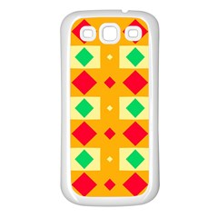 Green Red Yellow Rhombus Patternsamsung Galaxy S3 Back Case (white) by LalyLauraFLM