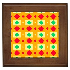 Green Red Yellow Rhombus Pattern 			framed Tile by LalyLauraFLM