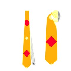 Green Red Yellow Rhombus Pattern Necktie by LalyLauraFLM