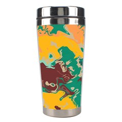 Texture In Retro Colors Stainless Steel Travel Tumbler by LalyLauraFLM