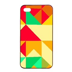 Retro Colors Shapesapple Iphone 4/4s Seamless Case (black) by LalyLauraFLM