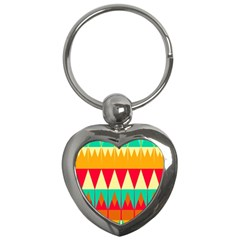 Triangles And Other Retro Colors Shapes 			key Chain (heart) by LalyLauraFLM
