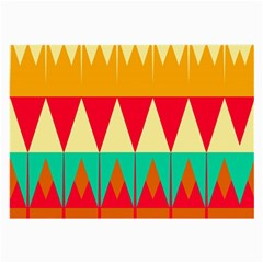 Triangles And Other Retro Colors Shapes large Glasses Cloth by LalyLauraFLM