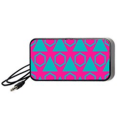 Triangles And Honeycombs Pattern Portable Speaker by LalyLauraFLM