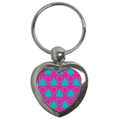 Triangles And Honeycombs Pattern 			key Chain (heart) by LalyLauraFLM