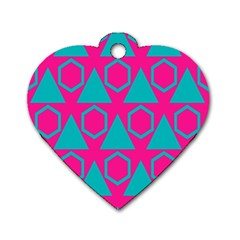 Triangles And Honeycombs Pattern 			dog Tag Heart (one Side) by LalyLauraFLM