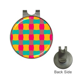 Distorted shapes in retro colors pattern 			Golf Ball Marker Hat Clip by LalyLauraFLM