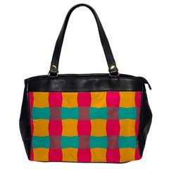Distorted Shapes In Retro Colors Pattern 			oversize Office Handbag by LalyLauraFLM