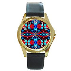 Red Black Blue Art Pattern Abstract Round Gold Metal Watches by Costasonlineshop