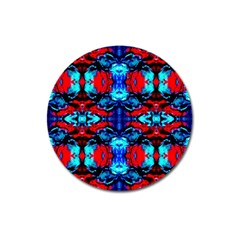 Red Black Blue Art Pattern Abstract Magnet 3  (round) by Costasonlineshop