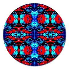 Red Black Blue Art Pattern Abstract Magnet 5  (Round) by Costasonlineshop