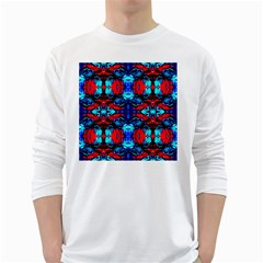 Red Black Blue Art Pattern Abstract White Long Sleeve T-Shirts by Costasonlineshop