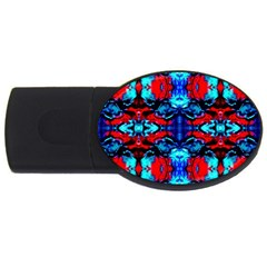Red Black Blue Art Pattern Abstract Usb Flash Drive Oval (4 Gb)  by Costasonlineshop