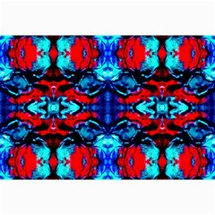 Red Black Blue Art Pattern Abstract Collage 12  X 18  by Costasonlineshop