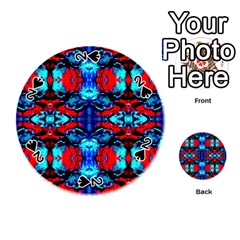 Red Black Blue Art Pattern Abstract Playing Cards 54 (round)  by Costasonlineshop