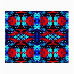 Red Black Blue Art Pattern Abstract Small Glasses Cloth (2 Side) by Costasonlineshop
