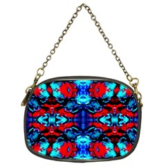 Red Black Blue Art Pattern Abstract Chain Purses (two Sides)  by Costasonlineshop