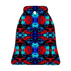 Red Black Blue Art Pattern Abstract Bell Ornament (2 Sides) by Costasonlineshop