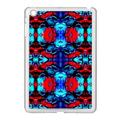 Red Black Blue Art Pattern Abstract Apple Ipad Mini Case (white) by Costasonlineshop