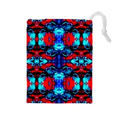 Red Black Blue Art Pattern Abstract Drawstring Pouches (large)  by Costasonlineshop