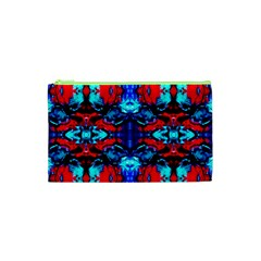 Red Black Blue Art Pattern Abstract Cosmetic Bag (xs) by Costasonlineshop