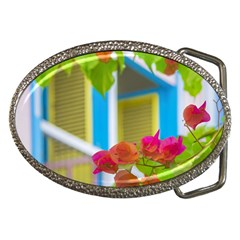 Colored Flowers In Front Ot Windows House Print Belt Buckles by dflcprints