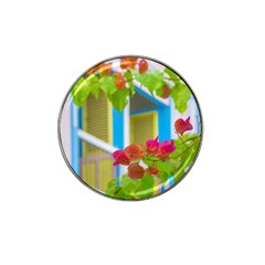 Colored Flowers In Front Ot Windows House Print Hat Clip Ball Marker by dflcprints