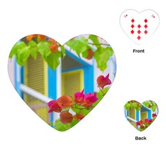 Colored Flowers In Front Ot Windows House Print Playing Cards (heart)  by dflcprints