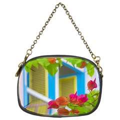Colored Flowers In Front Ot Windows House Print Chain Purses (two Sides)  by dflcprints