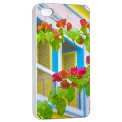 Colored Flowers In Front Ot Windows House Print Apple Iphone 4/4s Seamless Case (white) by dflcprints