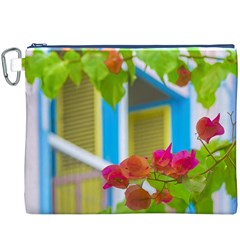 Colored Flowers In Front Ot Windows House Print Canvas Cosmetic Bag (xxxl)  by dflcprints