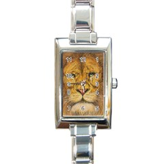 Regal Lion Drawing Rectangle Italian Charm Watches by KentChua