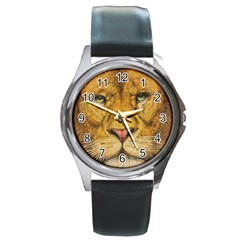 Regal Lion Drawing Round Metal Watches by KentChua