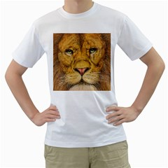 Regal Lion Drawing Men s T-Shirt (White) (Two Sided) by KentChua
